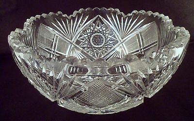 American Brilliant Period Antique Cut Crystal Bowl, Six-Pointed Star, Over 4 Lbs