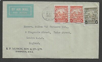 BARBADOS 1950 Commercial Airmail Cover Badge of colony 1 1/2d pair 1/-