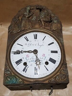 Antique Movement Pendulum Clock Contoise Bell Handl Singler bar on Dawn