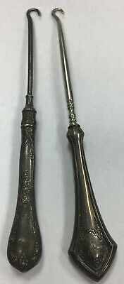 """Pair of vintage button hooks (#141) One with sterling handle & Mono """"k"""". Other l"""