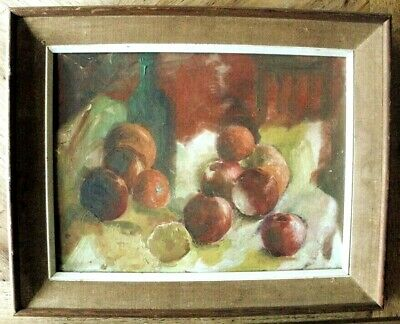 Vintage 1950's Still Life Painting of Fruit, Wine Bottle & Chair