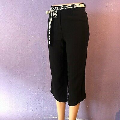 Bazar $450 CHRISTIAN LACROIX Cropped Trouser w Angled Cuffs Pant Black  40 XS