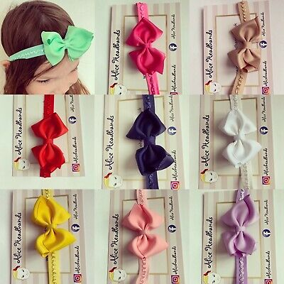 Baby Girls Headband 3 inch Bow Super Soft Band Christening Hair Accessories +Lot