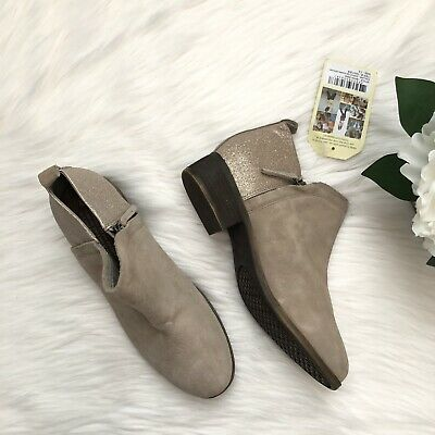 Punctual Toms Aztec Print Bootie Tan Suede Pull On Women's Shoes