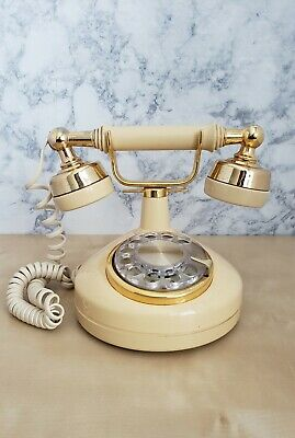 Western Electric Vintage French Princess Rotary Dial Desk Phone Beige & Gold