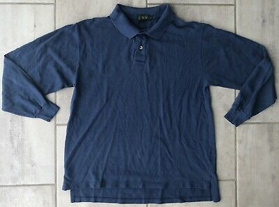 aec6fcda247 J. Crew Long-Sleeve Solid Blue Rugby/Polo Shirt Size Small Vintage 100