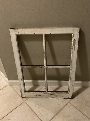"4 Pane Wood Window Antique Vintage Farmhouse Wedding Decor 20"" x 28"""