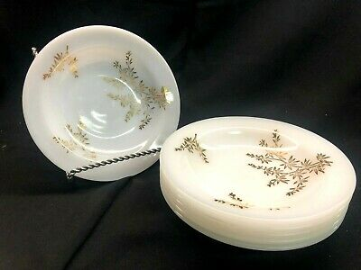 "Federal Heatproof F 8"" White Milk Glass Golden Glory Bamboo Rimmed Soup Bowl 6pc"