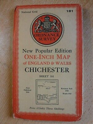 "CHICHESTER. ORDNANCE SURVEY 1"" MAP. SHEET 181. CLOTH BACKED EDITION. c.1947"
