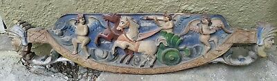 Antique polychromed baroque Carved Wood Panel relief Angels Eros Cherubs horses