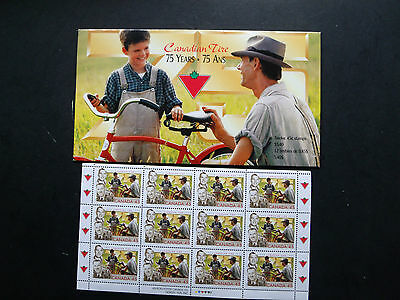Canad #1636 Full Pane/12 in Souvenir Folder 1997 45¢ Canadian Tire-75th opened