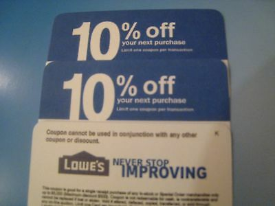 5 Lowes 10% Off physical COMPETITOR Coupon Exp 10/15/2019  to be mailed
