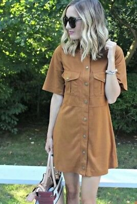 cf19a10d NWT ZARA FAUX SUEDE SHIRT DRESS WITH POCKETS WHISKY BROWN TAN REF 4341/262  Small
