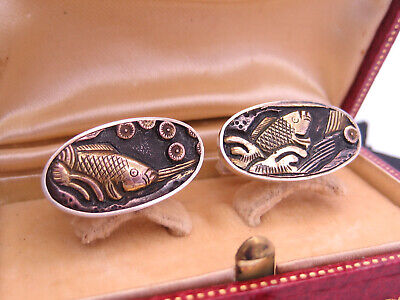 Antique Asia Japanese Sterling Silver & Gold Menuki Shakudo Koi Fish Cufflinks
