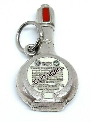 RARE Vintage Sterling Silver Enameled CURACAO Liquor Bottle Drinking Charm