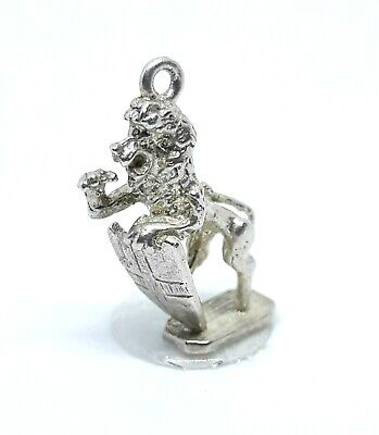 Antique Vintage Sterling Silver  Scottish Heraldic Roaring Lion Charm