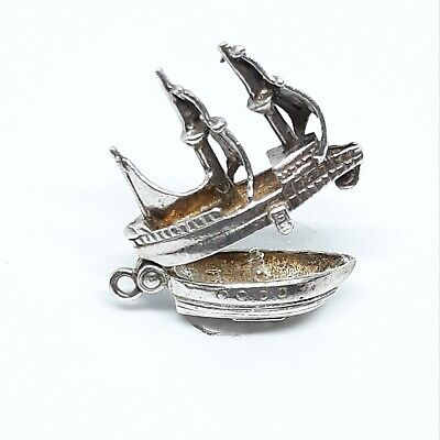 Vintage Sterling Silver Spanish Gallion Nautical Ship OPENS to Cargo & Man Charm