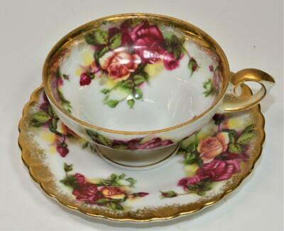 ROYAL SEALY Japan Bone China Gold Gild Pink FLOWERS Set Footed Cup & Saucer