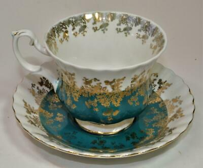 Vntg ROYAL ALBERT Bone China England Teal Color REGAL Series Set Cup & Saucer