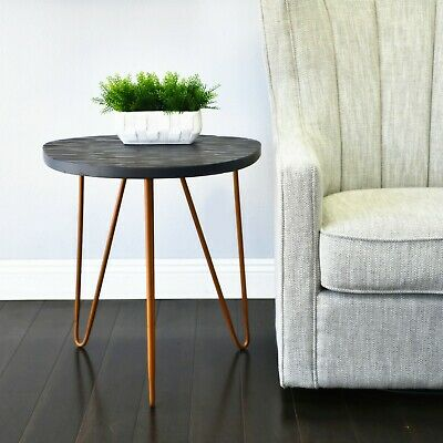 Wooden Side Table Stool Gray Finish Bronze Legs Night Stand WELLAND