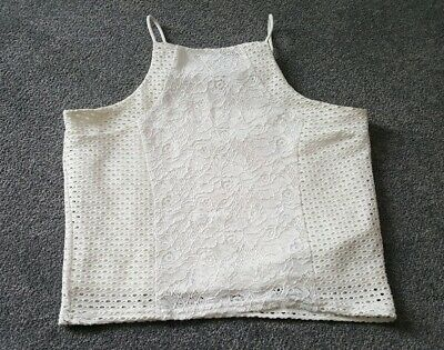 New Look Girls White/Ivory Sleeveless Lace Panel Cami Vest Top Age 14-15 Years