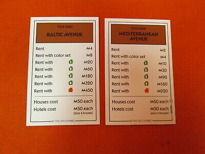 Monopoly 98 Game Mediterranean Baltic Ave Replacement Cards Art