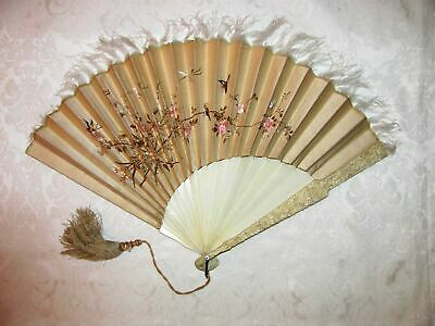 Chinese Qing Dynasty Embroidered Fan Circa 1880
