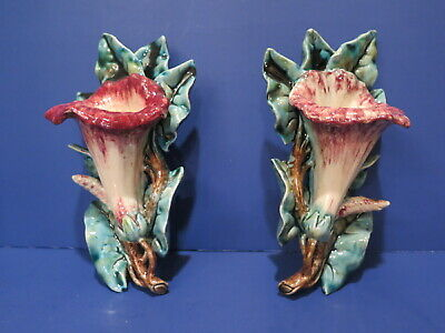 Vintage (Antique) French Majolica Lily Wall Pocket Pair