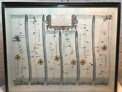 Original 1rst Edition C1675 Ogilby Map London To Barwick