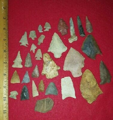 Group Of 28 Arrowheads From Huntsville Alabama Native American Indian Artifacts