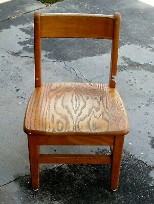 Vintage Solid Oak Child's Sunday School Classroom Library Chair