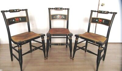 Set of 3 Vintage Boling Chair Co Hitchcock-Style Hand-Painted Chairs Rush Seats