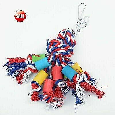 Parrot Pet Bird Chew Hanging Cage Toys Wood Large Rope Cave Chewing Toys 2018