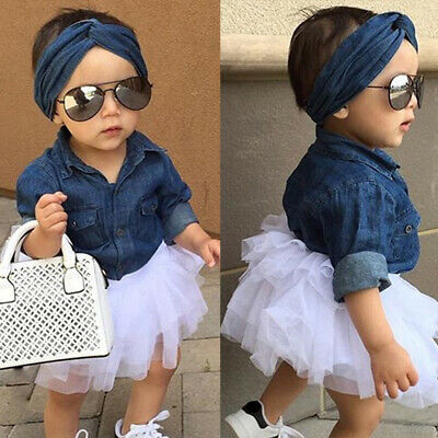 Toddler Kids Clothes Headbands Denim T-shirt Girls Outfits Set Tutu Skirts Tops
