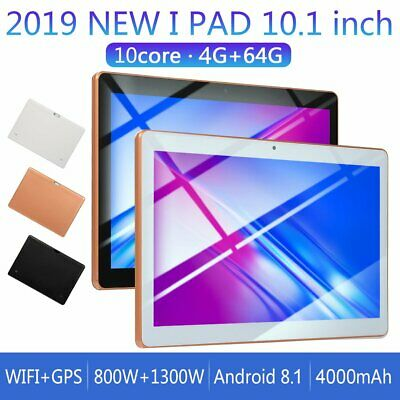 """10.1""""Tablet Android 8.1 BT 4.0PC RAM 4G ROM 64G 2Card GPS Phone Pad IPS FE WiFiQ"""