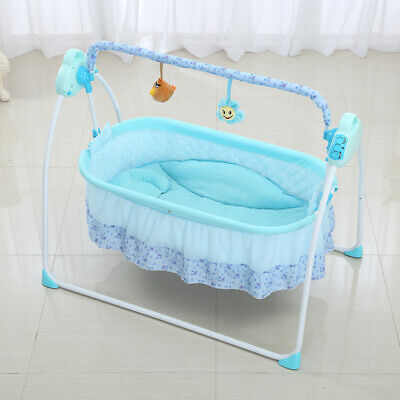 Electric Baby Bassinet Cradle Swing Rocking Connect Mobile Play Music K8U3