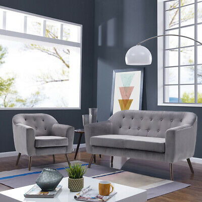 Grey Fabric Velvet 2+1 Seater Sofa Suit 2 Seater Couch Settee Tub Chair Armchair