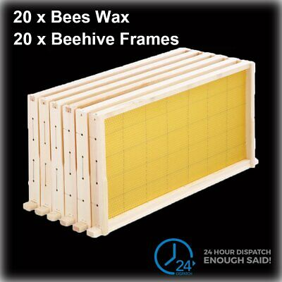 20Pcs Beekeeping Kits Bees Wax Foundation+Wooden Alliance Pine Beehive Frame