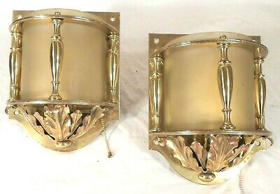 Antique Pair Of Art Deco Art Nouveau Brass And Glass Sconces