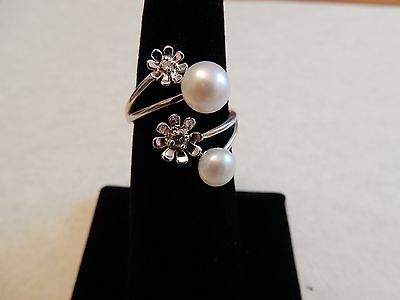 Freshwater Cultured Pearl & White Topaz Sterling Silver Ring Adjustable Genuine
