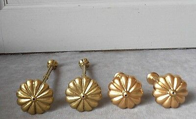 4 French Vintage BRONZE CURTAIN large TIE BACKS HOOKS