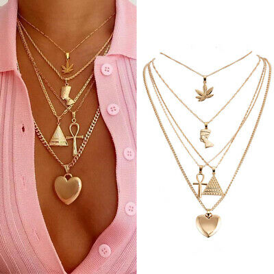 Women Vintage Leaf Cross Heart Pyramid Ancient Multilayer Pendant Punk Necklace