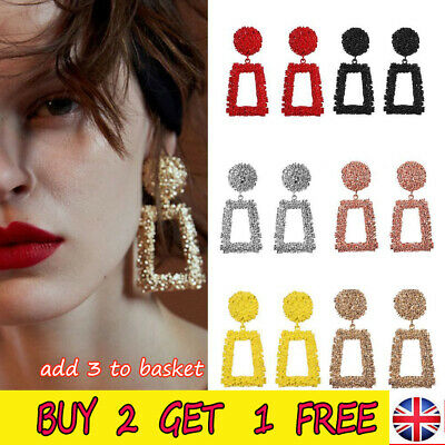 Fashion Punk Jewelry Geometric Dangle Drop Earrings Metal Statement Big Gold AUK