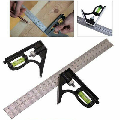 "300mm/12"" Adjustable Engineers Combination Try Square Set Right Angle Ruler"
