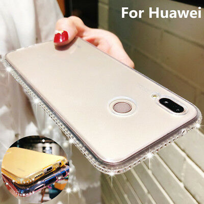 Shockproof Bling Diamond Slim Thin Soft Rubber Silicone Case Cover For Huawei