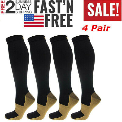 4 Pairs Copper Infused Compression Socks Graduated Mens Womens S-XXL 20-30mmHg
