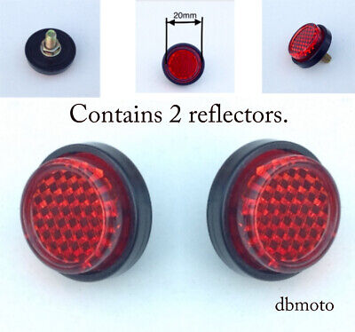 PAIR of motorbike Tail Tidy Round 20mm bolt on Rear Red Reflector....for MOT.