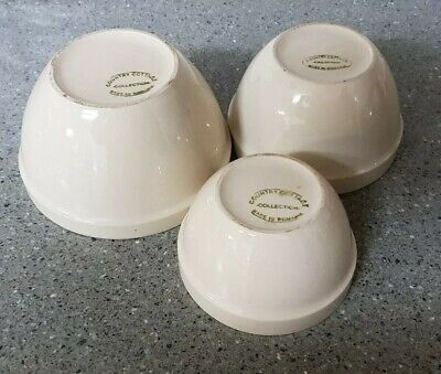 3 x Vintage Made in Romania Pottery Mixing/Nesting/Pudding Bowls. Kitchenalia