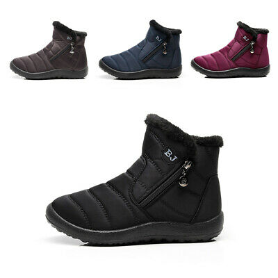Winter Waterproof Warm Flats Fur Lined Wedge Ankle Boots Soft Snow Shoes Women