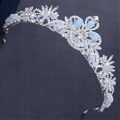 5cm High Light Blue White Crystal Beads Wedding Party Pageant Prom Tiara Crown